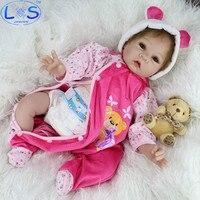 LONSUN Schöne Baby Silikon Reborn Dolls Hobbys Stofftiere Zubehör Puppen Schlafengehen Früherziehung Mädchen Spielzeug Weihnachtsgeschenk