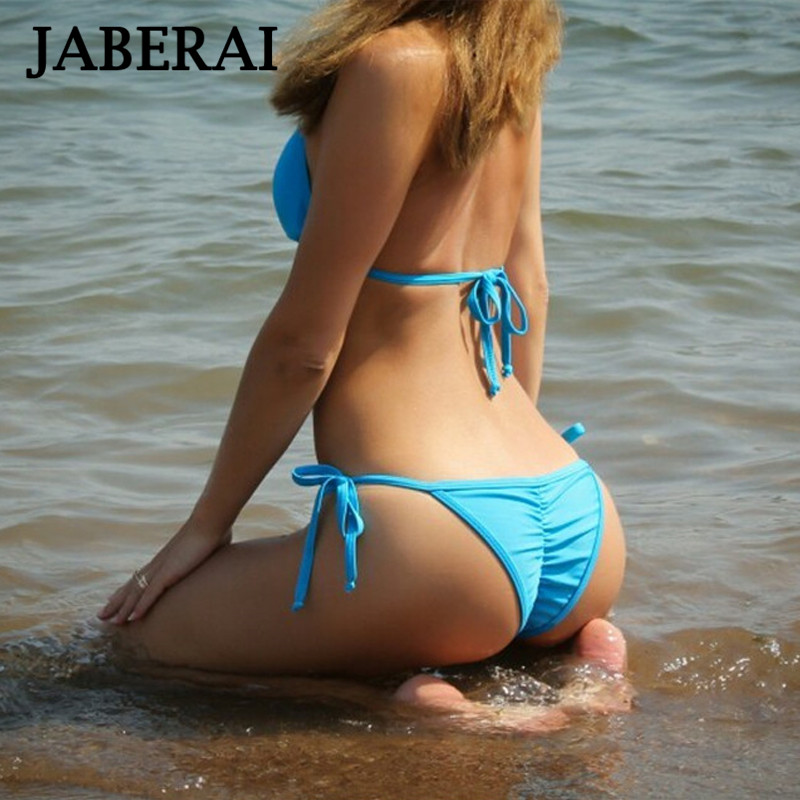 JABERAI Solid Swimsuit 2017 Brown Bikini Fit Strappy butt Bottom Scrunch Halter String Brazilian Bikini Set Micro swimwear 1