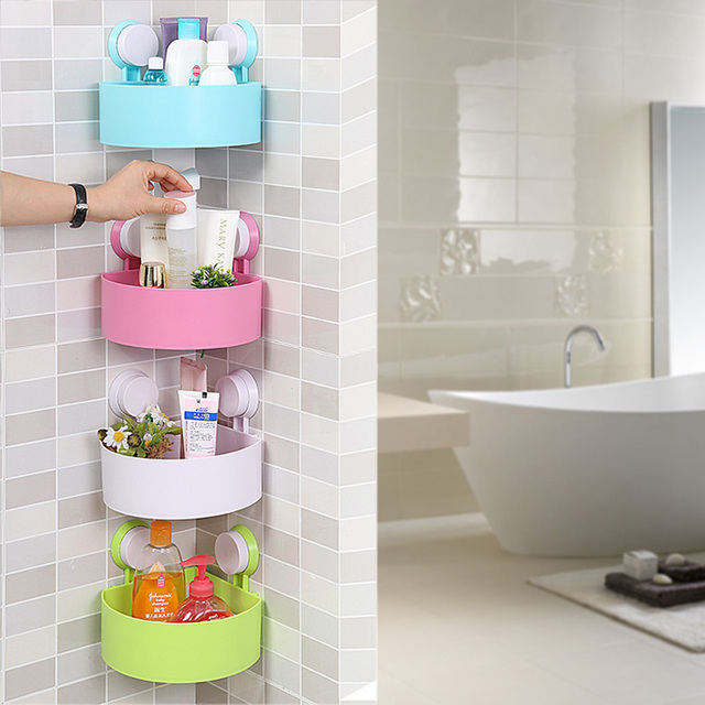 Multifunctional Plastic Strong Suction Cup Wall Corner Shelf Rack