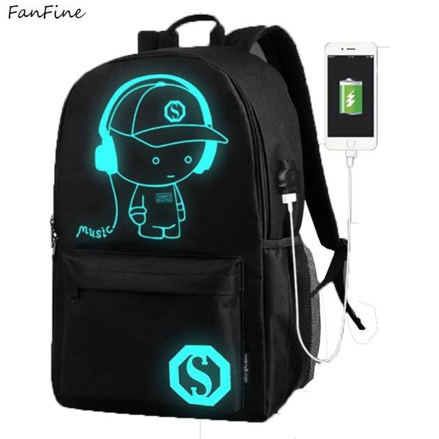 abf4e07a81af US $16.99 |FanFine USB Noctilucent Cartoon Men Women's Teenagers School  Backpack Night Lighting Bags Laptop Bag School Backpacks women-in Backpacks  ...