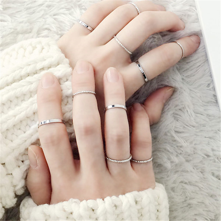 10PCS/SET 2019 Fashion Simple Design anillos Vintage Gold Silver Color Joint Rings Sets for Women Jewelry J7213