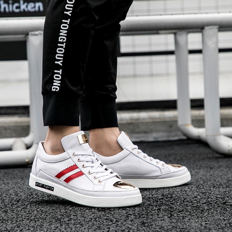 Couro Flats De Qualidade Schoenen Preto Homens Venda Mycolen Moda Sapatos Homem vermelho Europeu Casuais Estilo Shoes Alta Calçados Quente branco 2019 Dos qZgwPz8