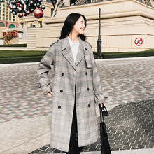 autumn winter England Style Long Trench Coats women Plaid Turn-Down Collar Sashes Gray Color For Woman