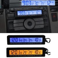 3 ב 1 מקורה דיגיטלי לרכב מדחום סוללה מתח צג אוטומטי מדחום מד מתח LCD שעון סיגריות רכב שקע-בשעוני קיר מתוך רכבים ואופנועים באתר