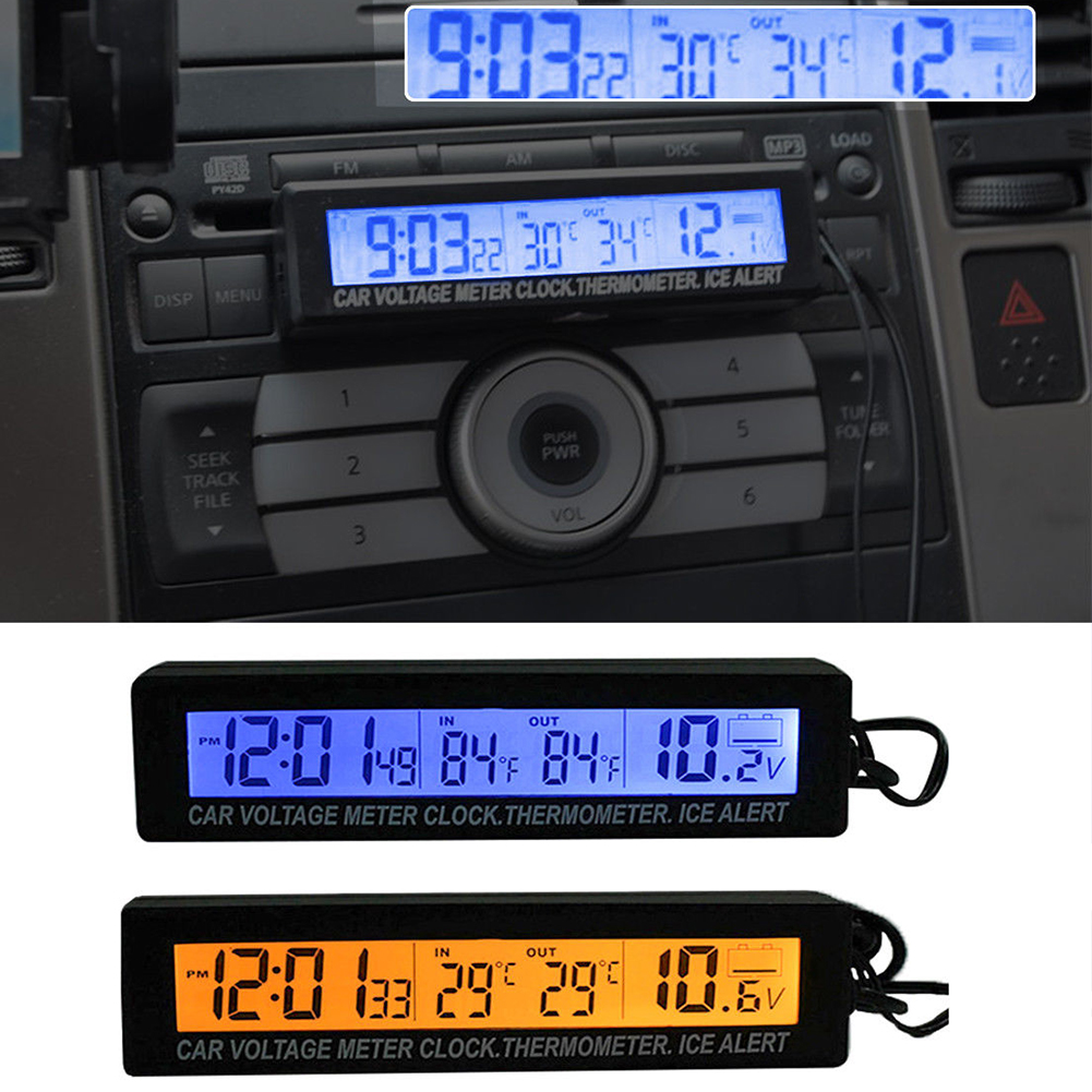 3 In 1 Indoor Outdoor Digital Car Thermometer Battery Voltage Monitor Auto Thermometer Voltmeter LCD Clock Car Cigarette Socket