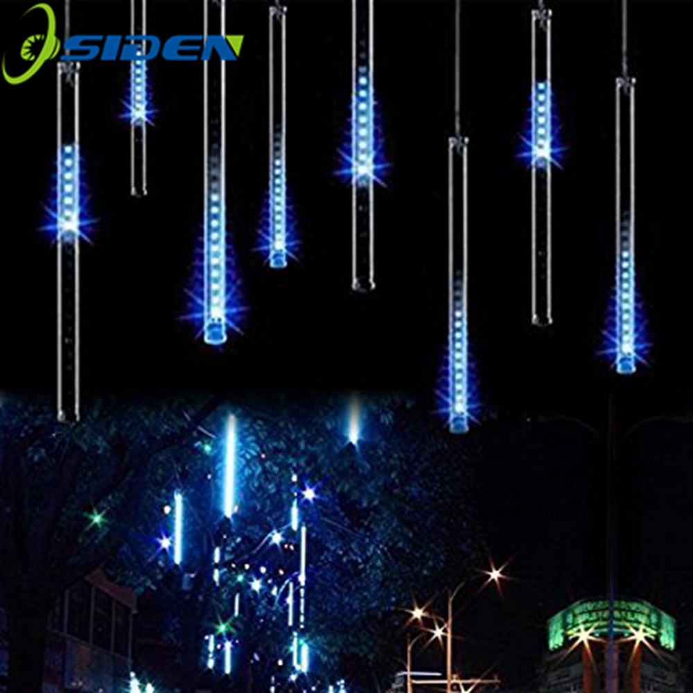 LED Meteor Shower Lights 30cm 8 Tube Fallende Rain Drop Icicle Snow Fall String LED Vandtæt Julelys til Holiday Xmas