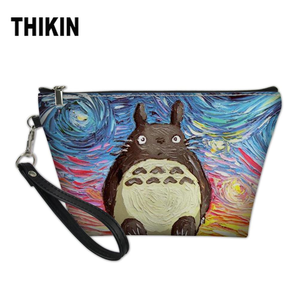 THIKIN Cute Cartoon Make Up Organizer Bag Kawaii Anime Totoro Toiletry Bathing Storage Bag Women Waterproof Travel Cosmetic Bag
