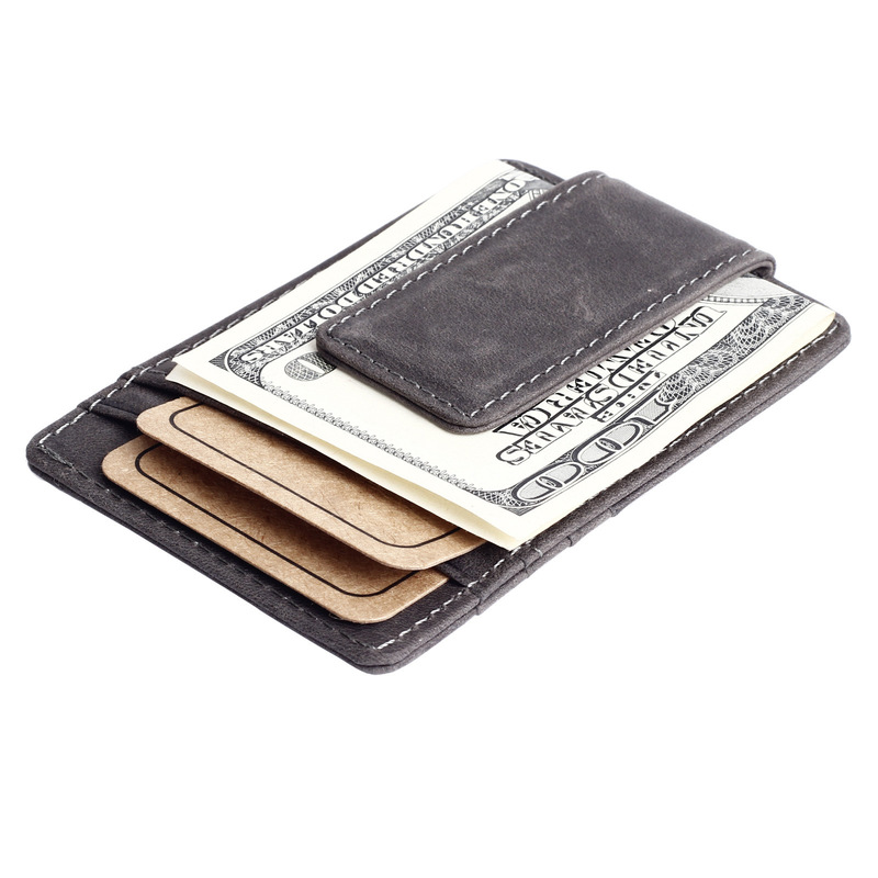 Genuine Leather Mini Slim Cash Women Men Holder  1