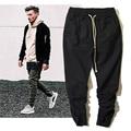 Mens Hip hop Streetwear Pants Kanye West Fear Of God High Street Biker Joggers Motorcycle Trousers Justin Bieber Black Jeans 36