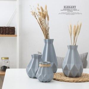 Европейская короткая матовая Алмазная фарфоровая ваза, современная модная керамическая ваза для цветов, комната для учебы, прихожая, домаш...