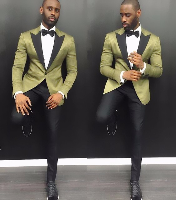 New Tailor Made Green Satin Groom Tuxedos Black Lapel Casual Blazer 2 Piece Mens Wedding Prom Party Suits(Jacket+Pants)terno