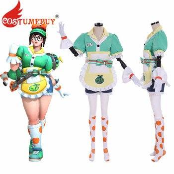 Costumebuy OW Mei Cosplay Costume Honeydew Skin Outfit Full Set Girls Adult Halloween Carnival Maid Costume Women Custom Made