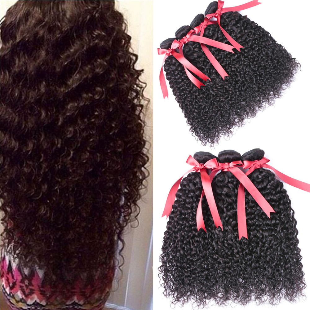 Beaudiva Brazilian Kinky Curly 3Piece/Lot Afro Kinky Curly Weave Human Hair Natural Color Non Remy Brazilian Hair Weave Bundles