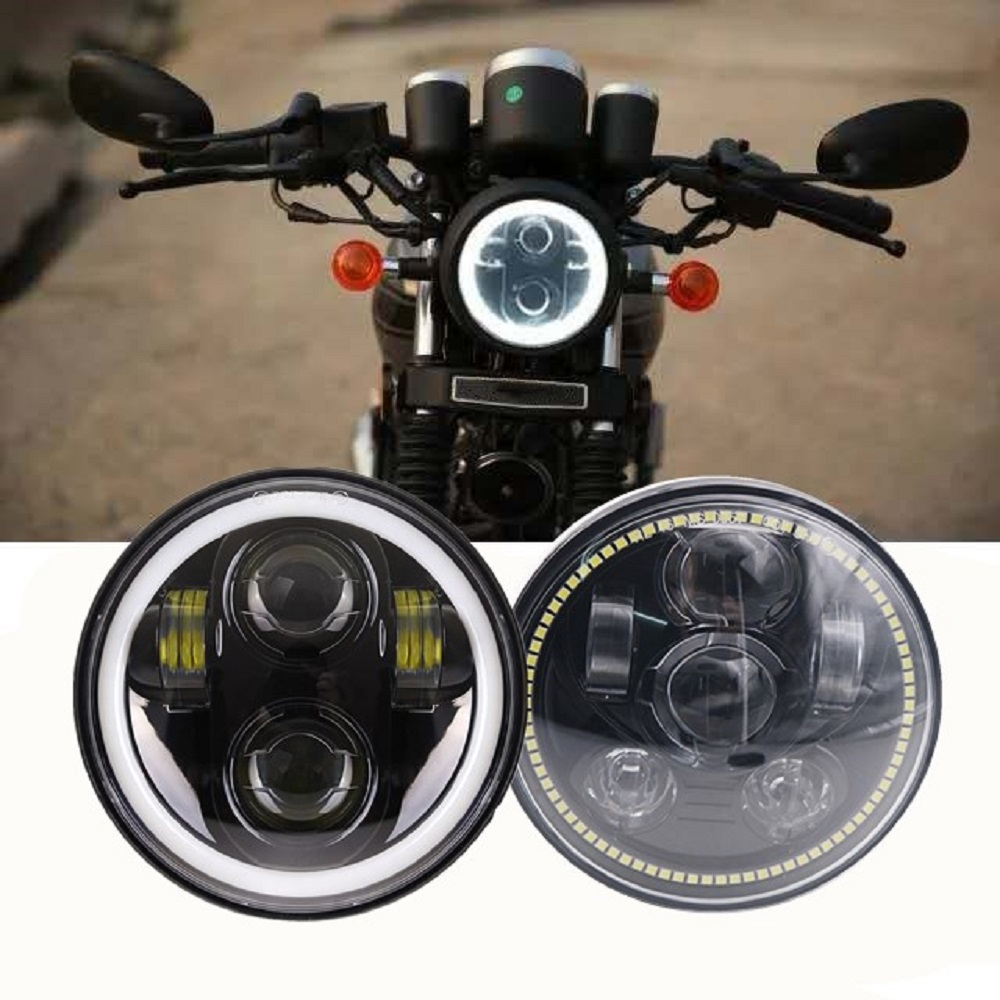 Motorcycle Accessories 5.75 LED Headlight 5 3/4 Inch Headlamp With White Halo Hi Low Beam 40W 45W