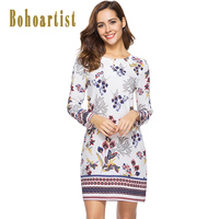 Bohoartist Bohemian Day Dresses White Print Floral Summer O Neck Zipper Casual Female Boho Daily Clothing