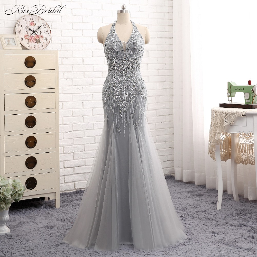 Fabulous New Long   Prom     Dresses   2017 V-Neck Sleeveless Floor Length Beading Crystal Tulle Mermaid Evening gowns Vestido de festa