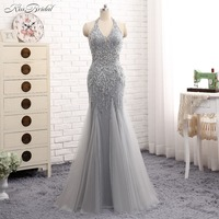 Fabulous New Long Prom Dresses 2017 V Neck Sleeveless Floor Length Beading Crystal Tulle Mermaid Evening
