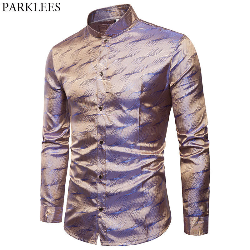 Mens Silk Satin Dress Shirt 2018 Fashion Mandarin Collar Long Sleeve Casual Shirts Wedding Tuxedo Shirt Camisas Para Hombre 3XL Рубашка