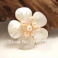 Wholesale Shell Flower Jewelry Pretty White Plumeria Mother Of Pearl Pink Freshwater Pearl Crystal Beads Floral Pin Brooch