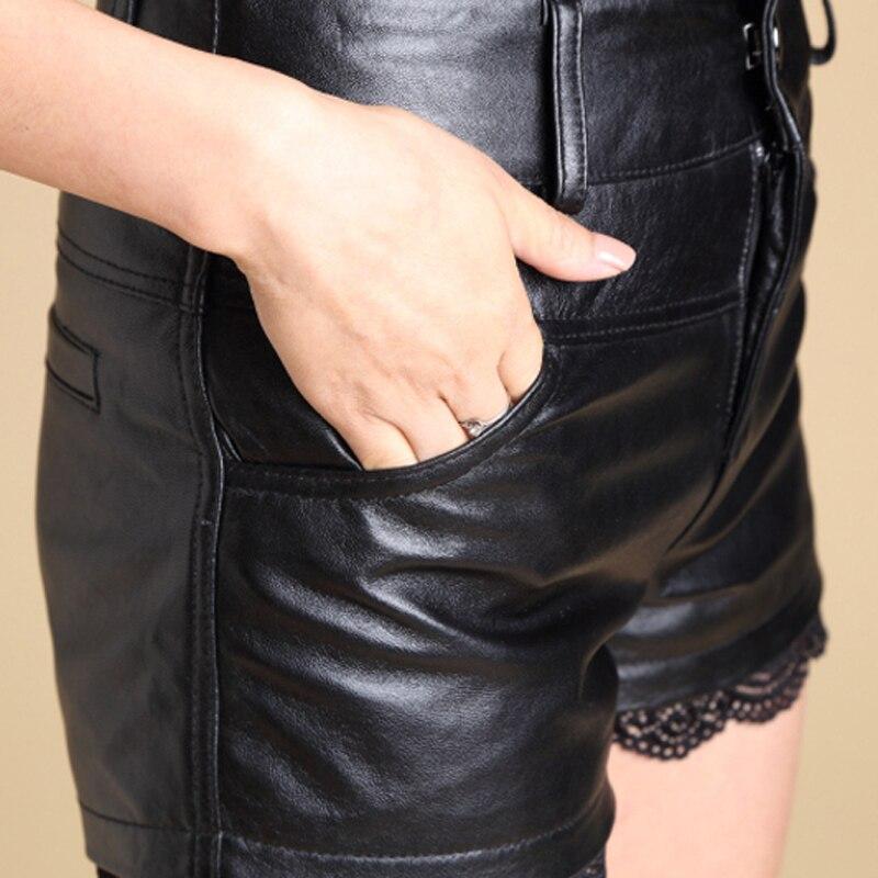 Svadilfari atacado 2017 novos calções de moda de pele de carneiro das mulheres calções mini shorts de couro sexy plus size preto curto feminino - 5