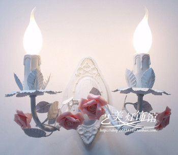 Europe pink flower iron Wall Lamp Candle   Princess Double Slider Rose Flower Wall lamp