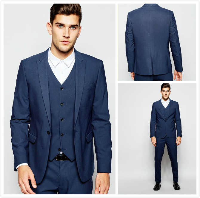 Dark Blue Wedding Suits Handsome Mens Suits Slim Fit Groom