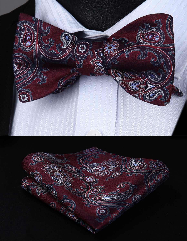 BP714US Burgundy Aqua Paisley Bowtie Men Silk  Self Bow Tie Handkerchief Set