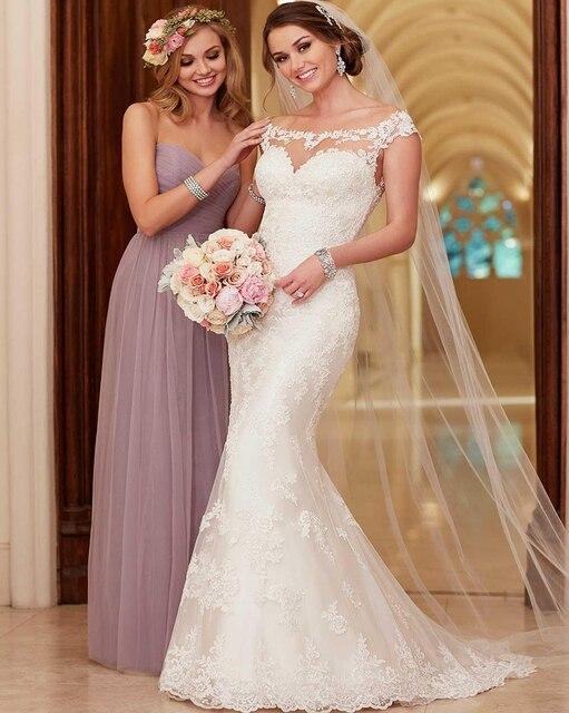 2016 stella york wedding dresses scoop neck appliqued lace and tulle 2016 stella york wedding dresses scoop neck appliqued lace and tulle mermaid bridal gowns with cap junglespirit Images