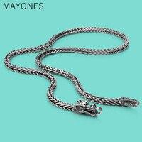 5mm Men's Thai silver chains necklaces ethnic dragon design 925 sliver popular necklace Solid silver body jewelry 56cm/61cm/66cm