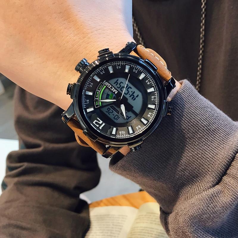 MEGIR Men Watch Top Luxury Brand Chronograph Military Sports Wristwatch Analog Quartz Digital Clock Male Relogio Masculino 2020