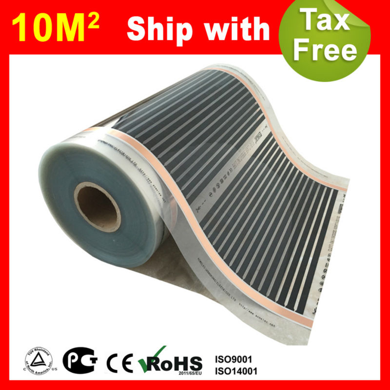 Russia Free shipping & Tax 10 Square meter Infrared Heating film, AC220V floor heating film 50cm x 20m russia shipping free