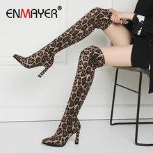 ENMAYER 2019 Women Boots Faux Suede Stretch Pointed Toe Thin Heels Over The Knee High Boots Slip-on flcok Women Shoes Size 34-43 prova perfetto quality cow suede leather belt buckle over the knee boots comfort solid pointed toe thin high heels women boots