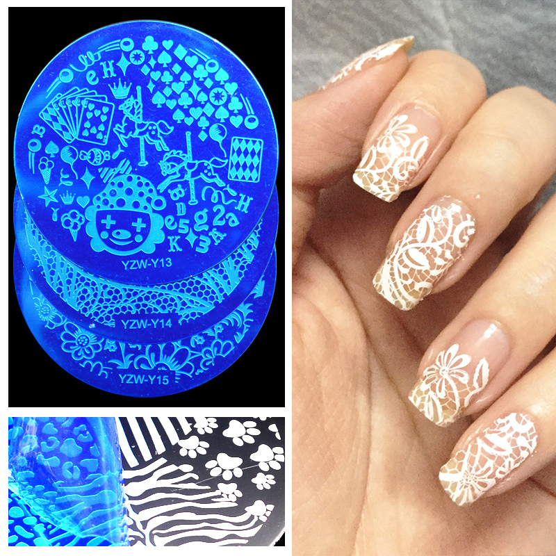 New Arrival!! YZW-Y Series Nail Stamp Stamping Plates 20 Styles Stainless Steel Nails Template Image Plate Tool Accessories