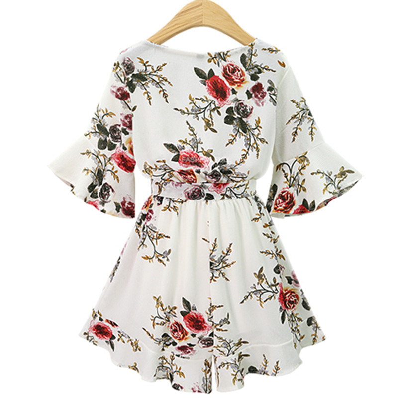 2018 Black Short Rompers Printing Flower V Neck Jumpsuit plus size 5XL Tie Waist Casual Summer Sexy Deep Women Jumpsuits S7N702A 2