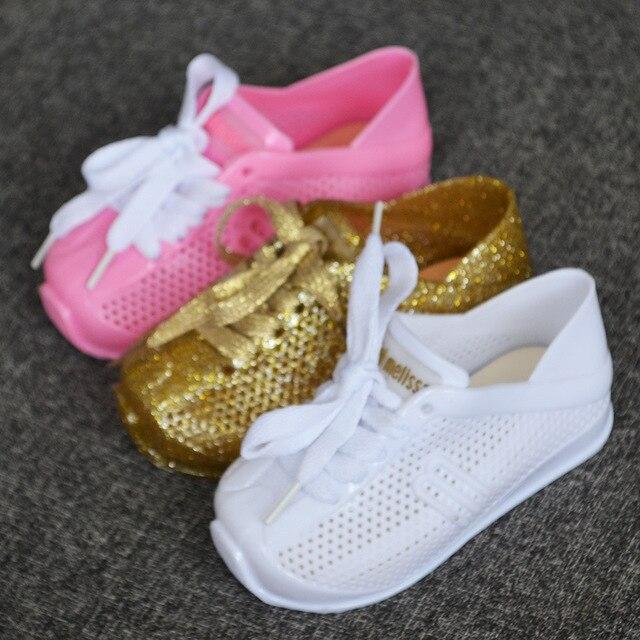 Mini Calçados Esportivos Tênis Respirável mini Melissa Melissa 2018 Nova  Menina Crianças Sapatos Da Menina do 1d0d0470ea484