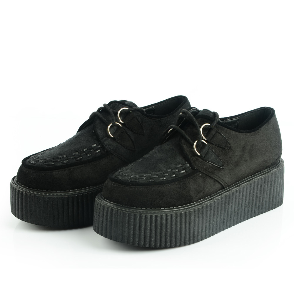 b01f39b0b4b LADIES LACE UP FLAT DOUBLE PLATFORM WOMENS GOTH CREEPERS PUNK WEDGE SHOES  FREE SHIPPING-in Women s Flats from Shoes on Aliexpress.com
