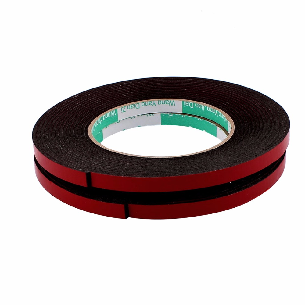 2Pcs 12mmx2mm Double Sided Adhesive Sticker Glue Strip DIY Sponge Foam Tape 5M