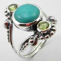 Solid Silver Round Turquoises, Peridots Ring Size 8.75 Jewelery Gift Unique Designed