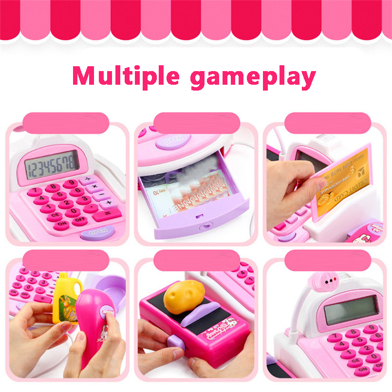 Mini Simulation Supermarket Cashier Cash Register Toy Checkout Counter Foods Goods Kids Toy Pretend Play House Toys For Girls 3