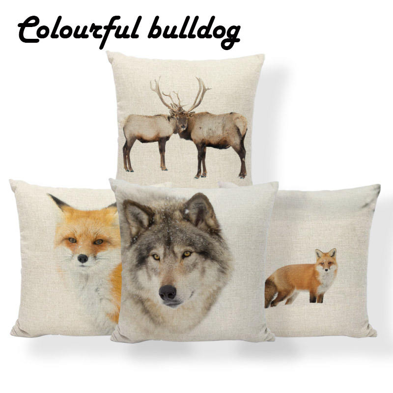 Fox Wolf Deer Cushion Covers Tree Snowflake Winter Pillow Case Gray Dorm Improvement Decorating Throw Pillow Covers 17X17 Linen