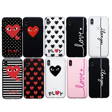Letter Print Lovers Cute Red Heart soft Case For iPhone X XS Max XR 6 6s Plus Funda Cover For iPhone 7 8 plus 5s SE Case Coque(China)