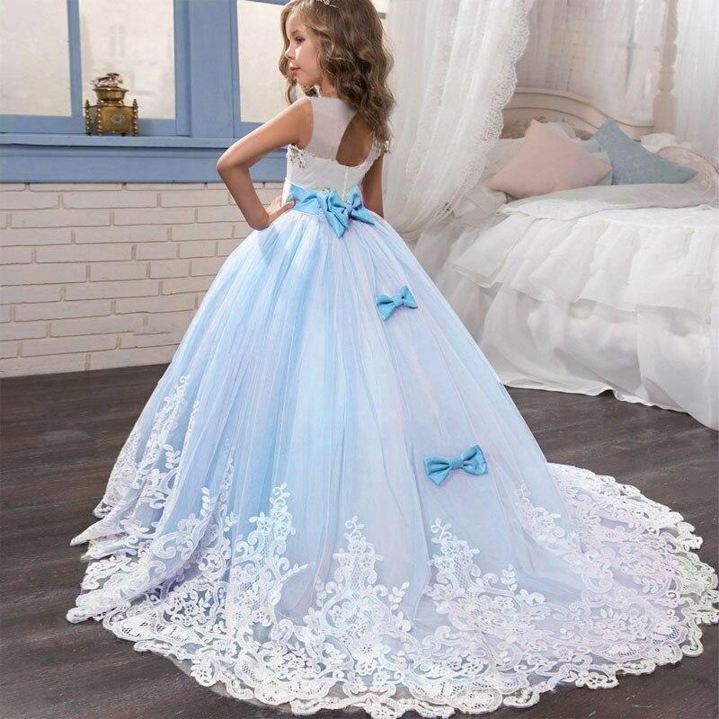 2019 Hot   Flower     girl   beads decoration long   dress   2019 new   girl   wedding party clothing ball beauty costume vestido comunion