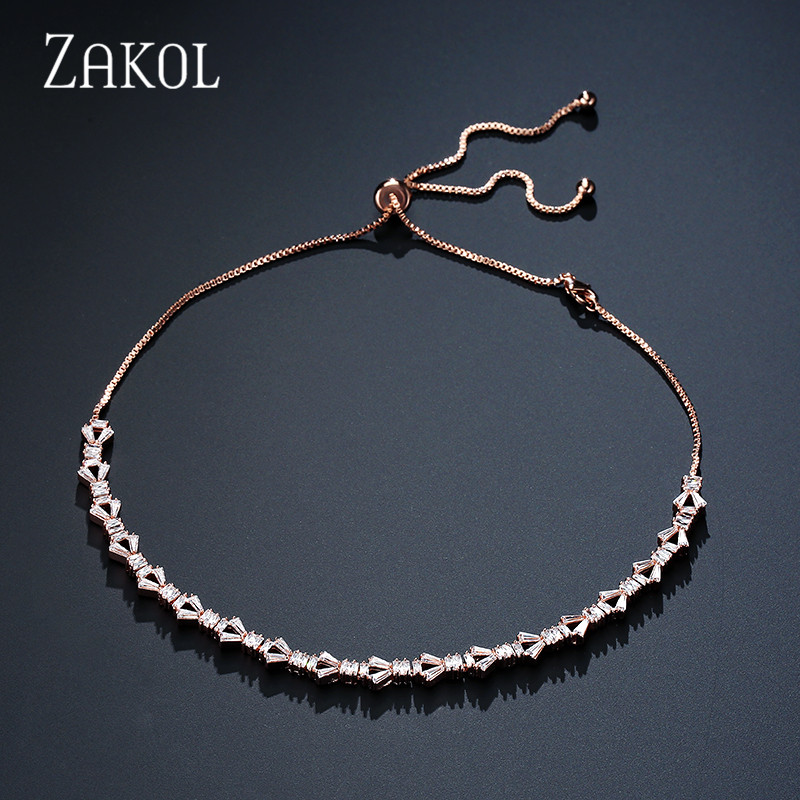 ZAKOL Fashion Sparking CZ Zirconia Baguette Choker Necklace/Torques For Women Adjustable Length Geometric Jewelry Dress FSNP2046 charming multilayered geometric choker necklace for women