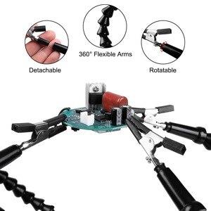 Image 4 - NEWACALOX 세 번째 손 납땜 홀더 USB 3X 조명 돋보기 용접 수리 손 도구 돋보기 납땜 역