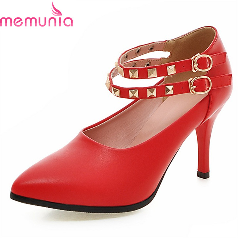 MEMUNIA 2018 new hot sale concise buckle wedding shoes stiletto high heels pointed toe soft leather women pumps spring autumn memunia new arrive hot sale genuine