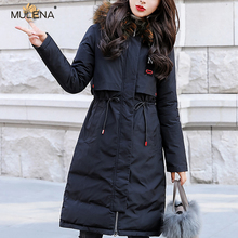 Mulena Two Sides Can Wear Long Hoodie Down Coat Women Slim Thick Warm Office Lady Bread Coats Fashion Outerwear Female Winter