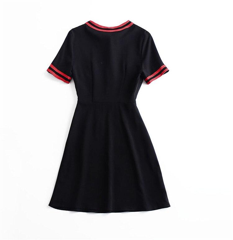 Printemps Robe D'office Arc Courtes Patchwork Femmes 2019 ul164 Rond Beige Lady noir Manches Col dUwHB8q
