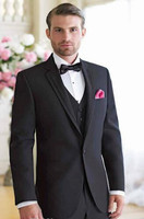 Custom Made Elegant Black Groomsmen Suits For Wedding 2017 Notch Lapel Best Man Wedding Tuxedos Suits