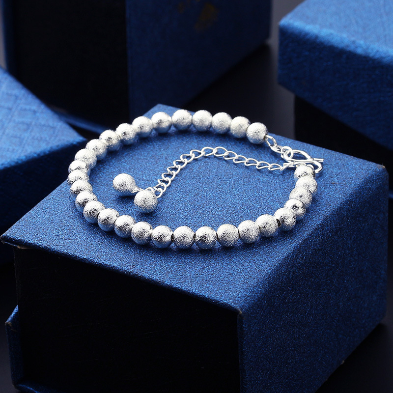 Linnor Modern Fashion Scrub Beaded Bracelets Silver Ball Bracelt for Women Cuff Wristband Cordao Braslet Femme Pulsera