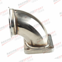STAINLESS STEEL 3.0 V BAND T4 TURBO EXHAUST 90 DEGREE ELBOW ADAPTER FLANGE